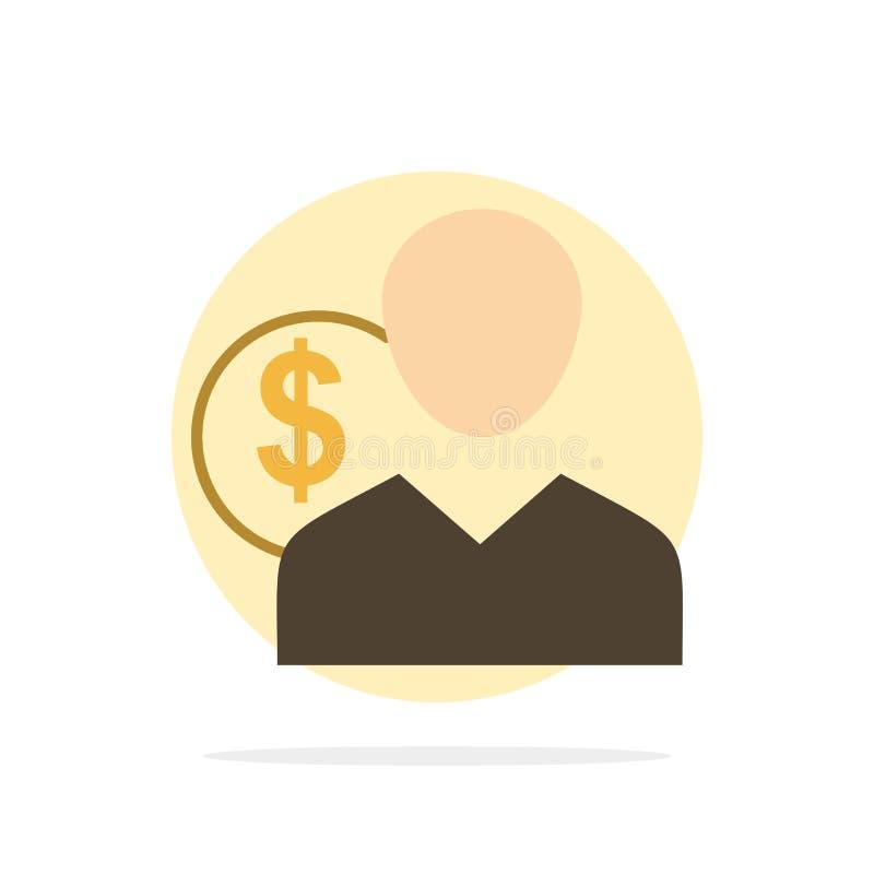 Klient, użytkownik, koszty, pracownik, finanse, pieniądze, osoba okręgu Abstrakcjonistycznego tła koloru Płaska ikona ilustracja wektor