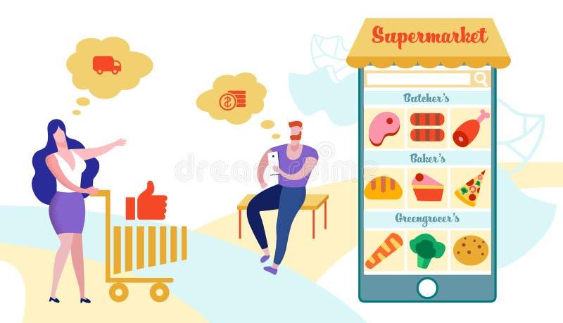 Klient Używa Mobilnego Podaniowego Online zakup ilustracja wektor