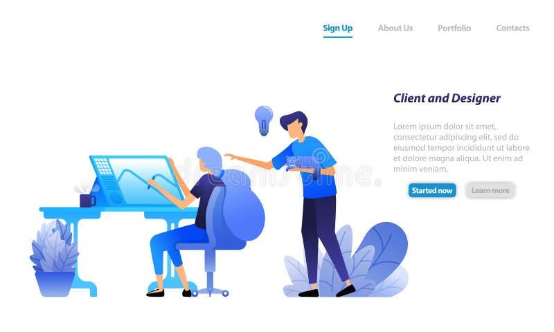 Klient zapewnia radę i dyskutuje pomysły z projektantem, kierunek klient układa projektanta Biznesowy wektorowy ilustracyjny poję ilustracja wektor