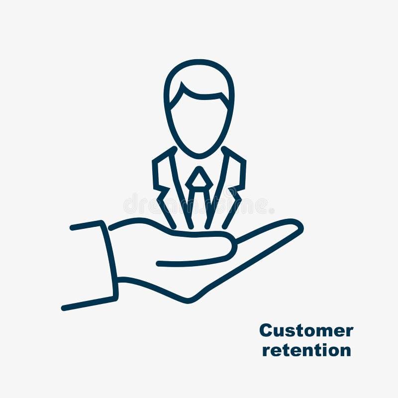 Klienta czerni linii retencyjna ikona ilustracja wektor