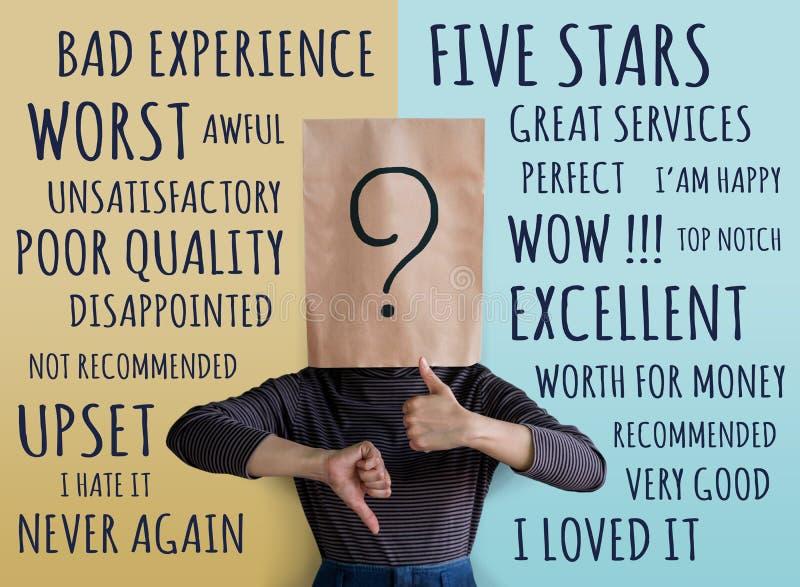 Klienta doświadczenia pojęcie Klient kobieta z znakiem zapytania Ico zdjęcie stock