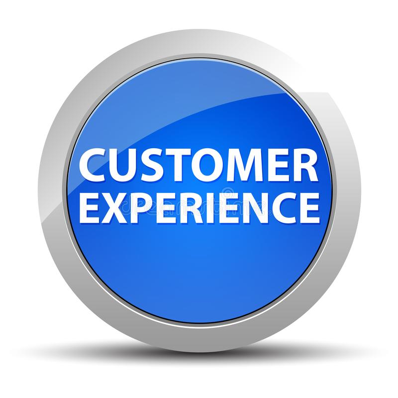 Klienta doświadczenia round błękitny guzik ilustracja wektor