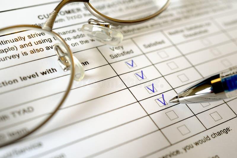 klienta formy ankieta zdjęcie stock