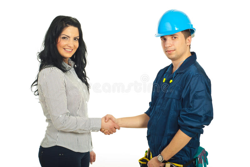 klienta konstruktora uścisk dłoni pracownik obrazy stock