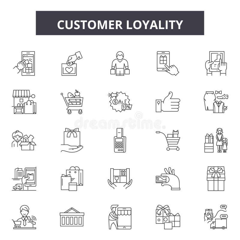 Klienta loyality linii ikony, znaki, wektoru set, kontur ilustracji pojęcie ilustracja wektor