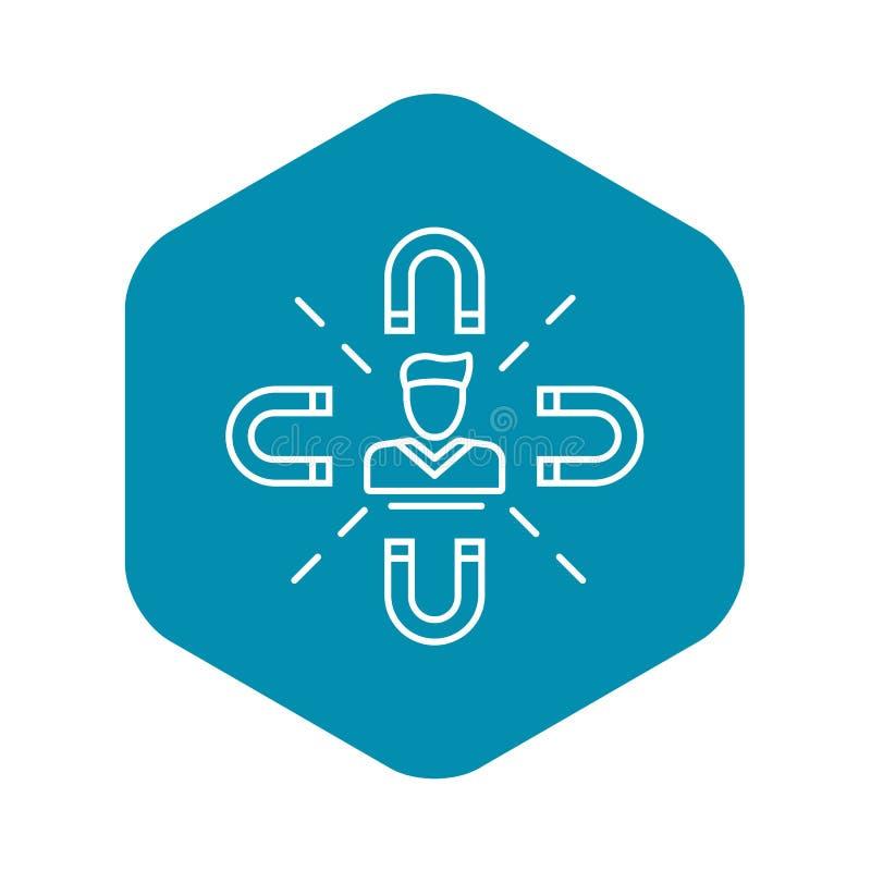 Klienta magnesu retencyjna ikona, konturu styl ilustracji