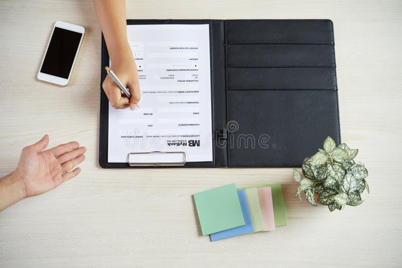 Klienta plombowania banka forma zdjęcia stock