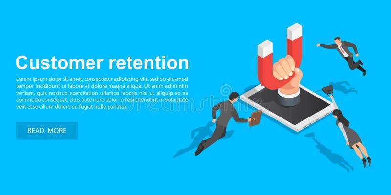 Klienta pojęcia retencyjny sztandar, isometric styl ilustracja wektor