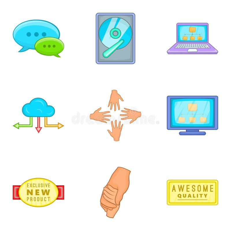 Klienta poparcia ikony set, kreskówka styl royalty ilustracja
