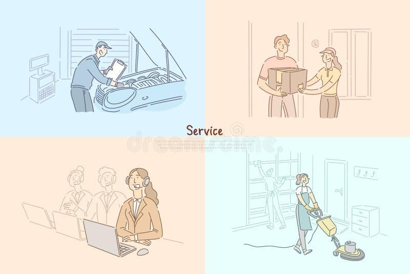 Klienta poważny interes, samochodowy remontowy sklepowy mechanik, pomoc techniczna, centrum telefoniczne, rozkazu sztandaru doręc royalty ilustracja