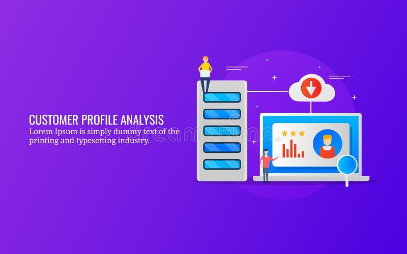 Klienta profilu analiza, zachowanie ukierunkowywał marketing, klientów dane monitorowanie pojęcie Płaski projekta wektoru sztanda ilustracja wektor