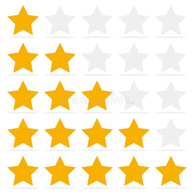 Klienta przegląd daje pięć gwiazdzie Pozytywnej informacje zwrotne pojęcie ilustracji