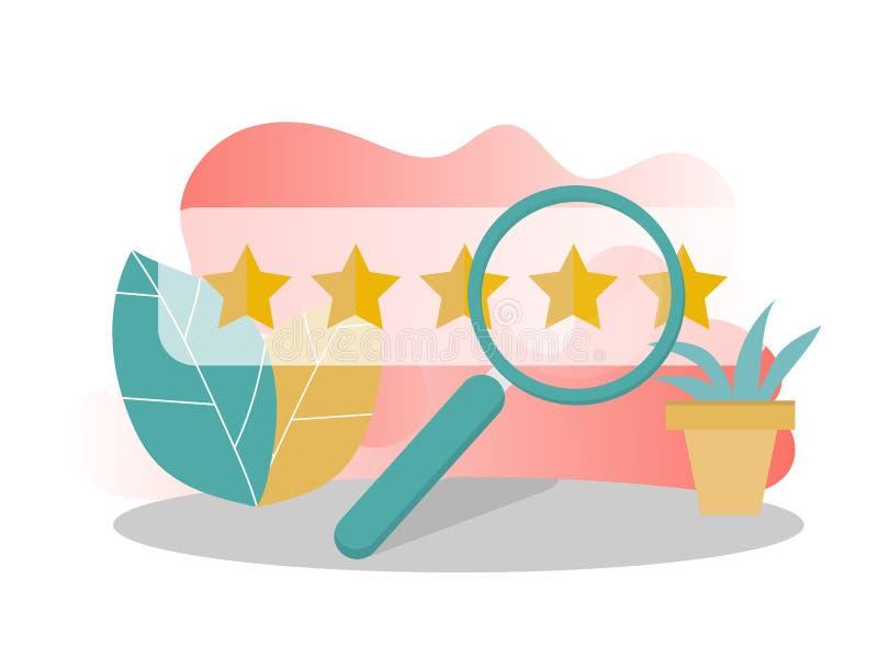 Klienta przegląd, użyteczności cenienie, informacje zwrotne, systemu oceny pojęcie wektor ilustracja wektor