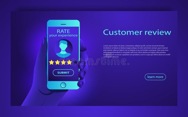Klienta przeglądowy pojęcie Informacje zwrotne, reputaci i ilości pojęcie, Przeglądowa ocena na telefonu komórkowego wektoru ilus ilustracji