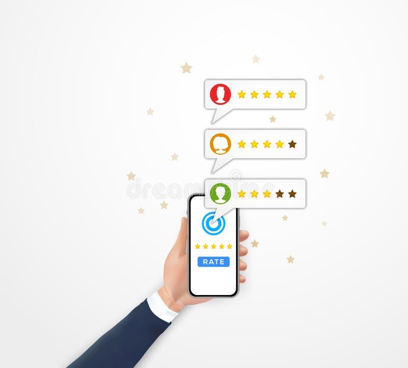 Klienta przeglądowy ratingowy pojęcie Wręcza mienia smartphone z mobilnym app dla online przeglądów systemy, klientów testimonial ilustracji