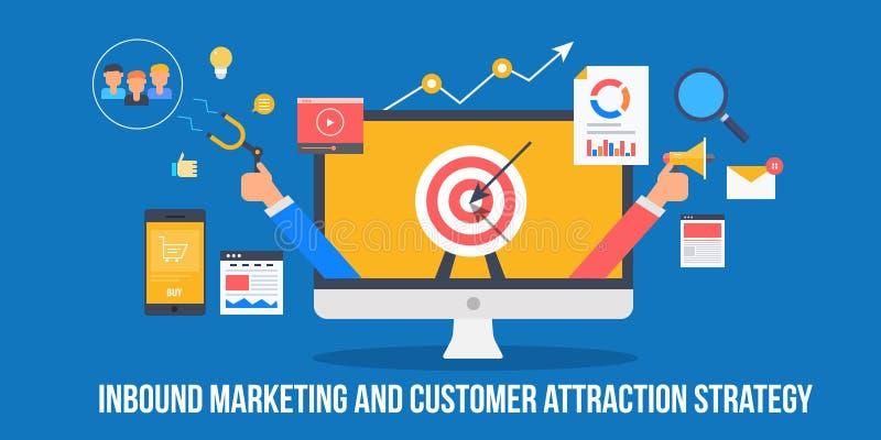 Klienta przyciągania strategia przez przylatującego marketingowego pojęcia Biznesmen promuje nowych klientów i przyciąga Płaski s ilustracja wektor