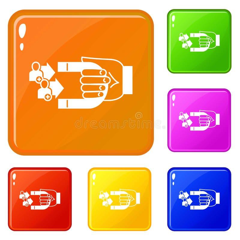 Klienta retencyjne ikony ustawiający wektorowy kolor ilustracji