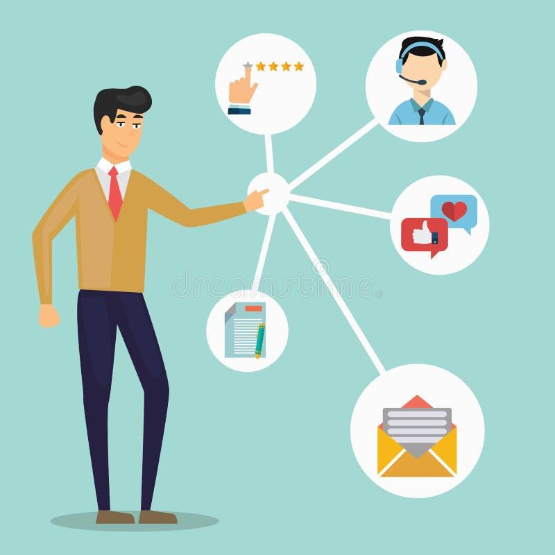 Klienta związku zarządzanie System dla kierować interakcje z aktualnymi i przyszłościowymi klientami - wektor ilustracja wektor