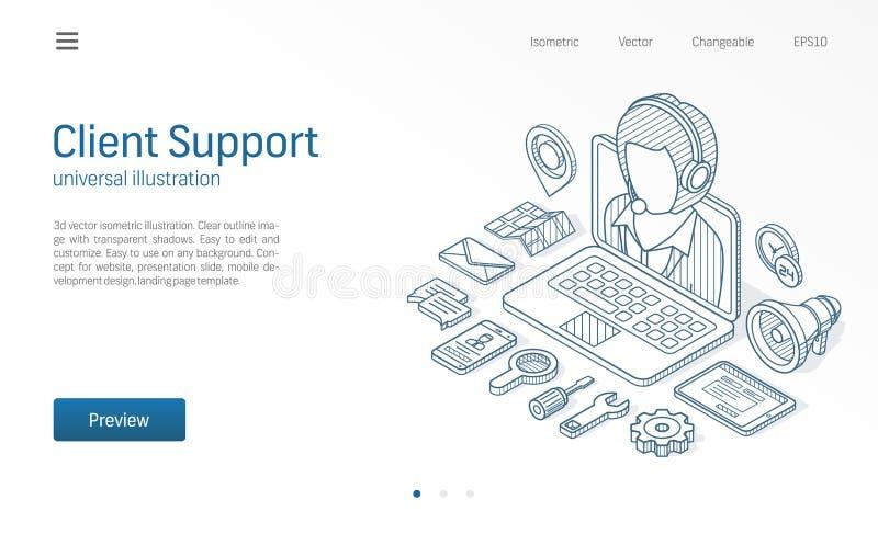 Klienten kundservicemitt, kontaktar oss den isometriska linjen illustration Kalla service, hjälpskrivbordet, affär meddelar stock illustrationer