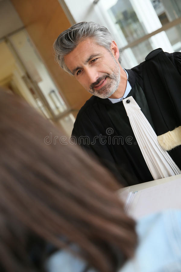 Klientmöteadvokat för laglig rådgivning arkivbilder