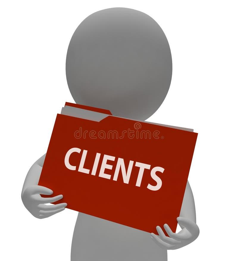 Klientmappen indikerar administrationsorganisation och tolkningen för konsumenter 3d stock illustrationer