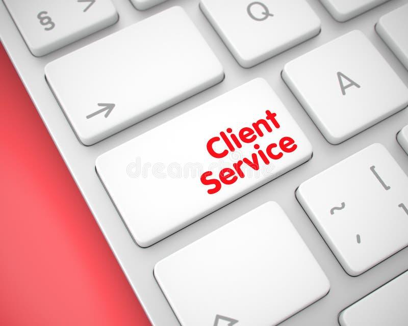 Klientservice - text på den vita tangentbordknappen 3d stock illustrationer