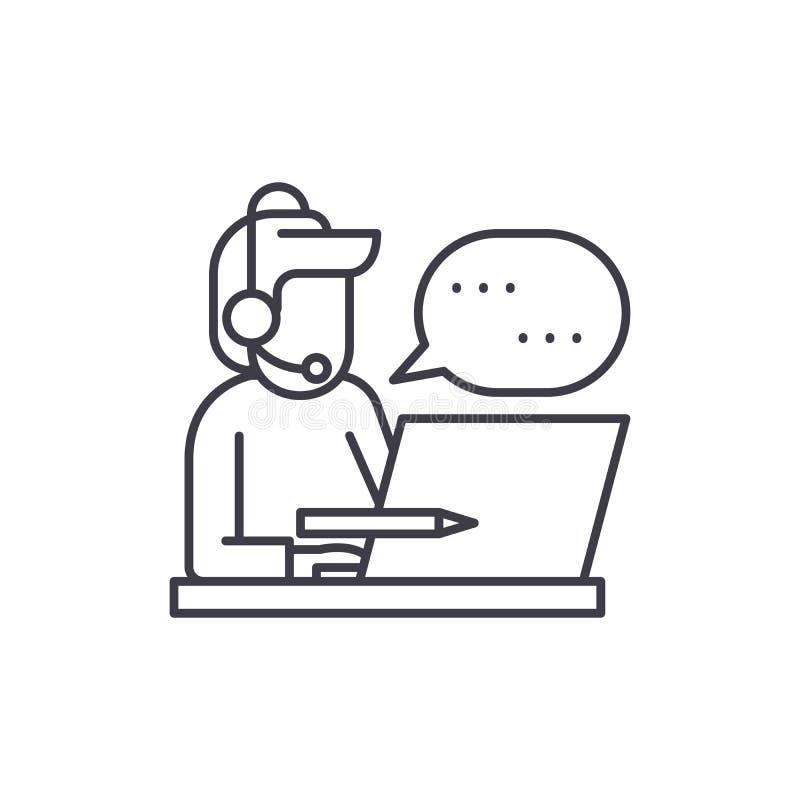 Klientservicelinje symbolsbegrepp Linjär illustration för klientservicevektor, symbol, tecken stock illustrationer
