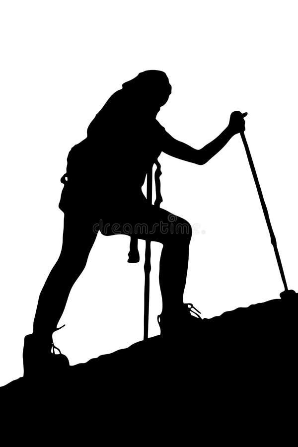 klifów wspinaczkowi młodą kobietą ilustracji