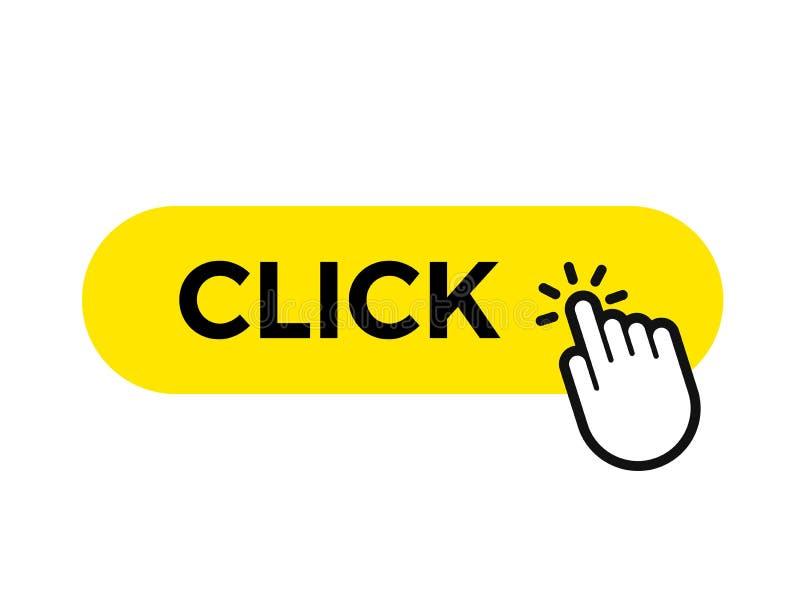 Klik bar en vinger vector het pictogrammalplaatje van de Webknoop vector illustratie