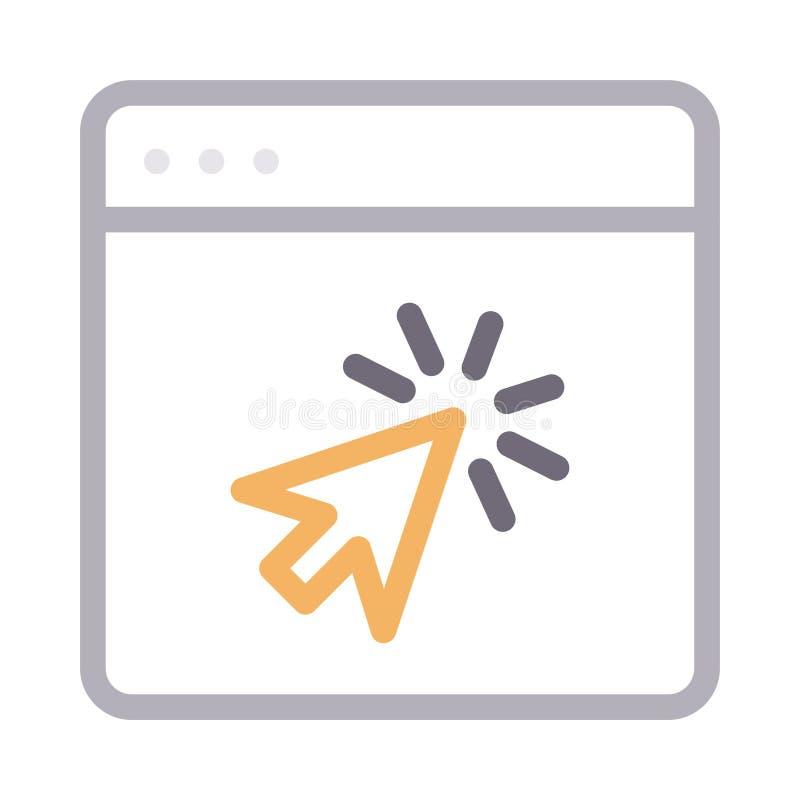 Klik browser dun rassenbarrière vectorpictogram stock illustratie