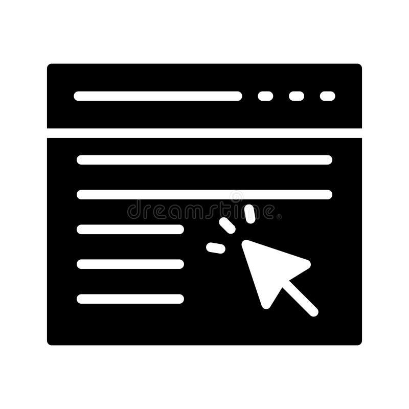 Klik browser glyph vlak vectorpictogram vector illustratie