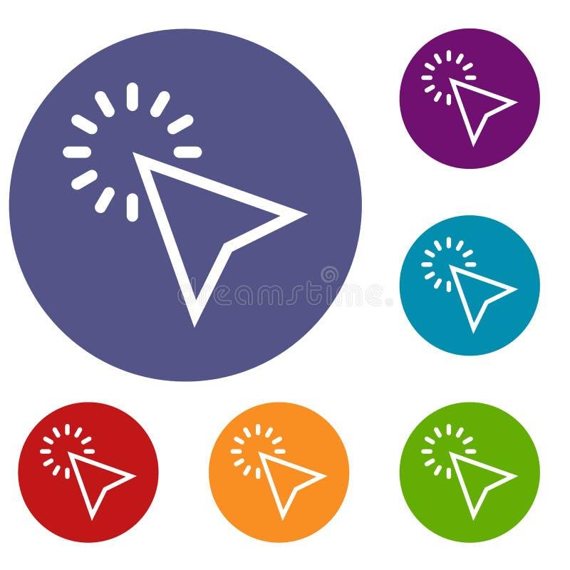 Klik geplaatste pictogrammen vector illustratie