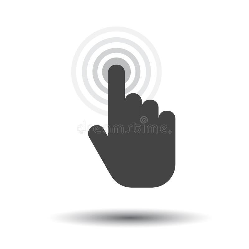 Klik handpictogram Het teken vlakke vector van de curseurvinger royalty-vrije illustratie