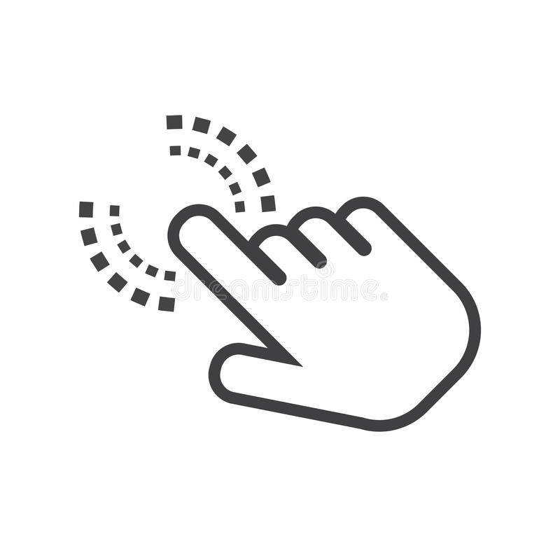 Klik handpictogram Het teken vlakke vector van de curseurvinger stock illustratie