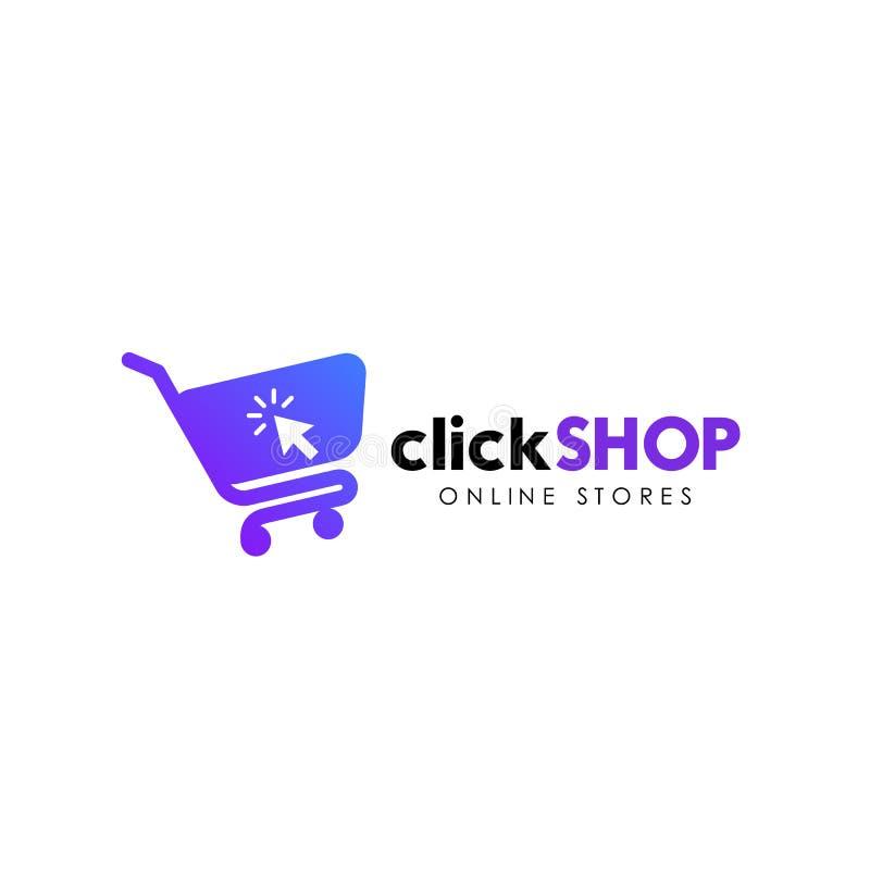 Klik het pictogramontwerp van het winkelembleem Online het ontwerpmalplaatje van het winkelembleem stock illustratie