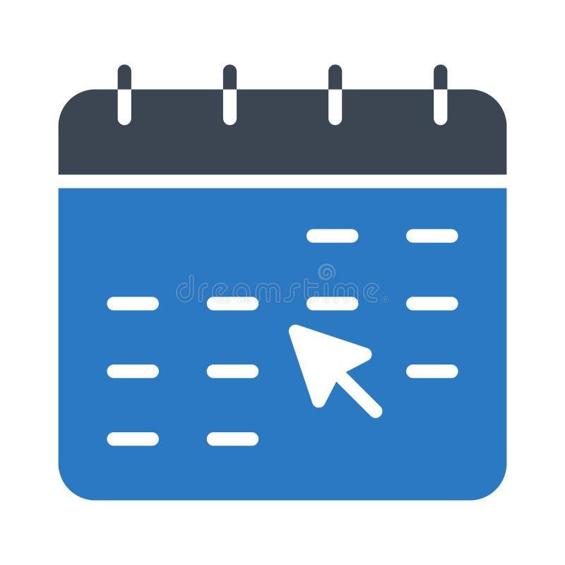 Klik het vectorpictogram van de kalender glyph kleur stock illustratie
