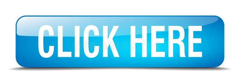 klik hier blauwe vierkant geïsoleerde Webknoop royalty-vrije illustratie