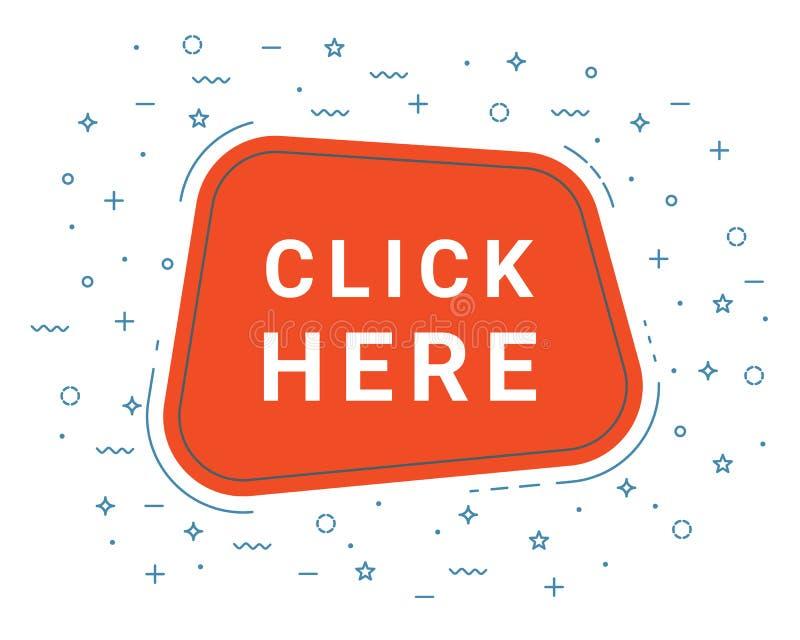 Klik hier de Bannerteken van de Toespraakbel, Ontwerpsjabloon De aanbieding van bedrijfsetiketpromo stock illustratie