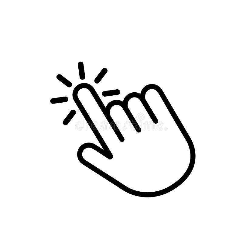 Klik hier de knoop met het handpictogram Lineair pictogram voor websites Vlakke vector geïsoleerde illustratie stock illustratie