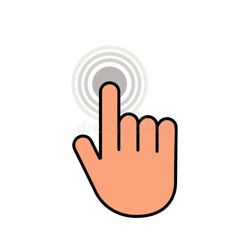 Klik hier de knoop met het handpictogram Lineair pictogram voor websites Vlakke vector geïsoleerde illustratie vector illustratie