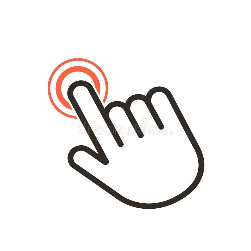 Klik hier de knoop met het handpictogram Lineair pictogram voor websites Vlakke vector ge?soleerde illustratie vector illustratie