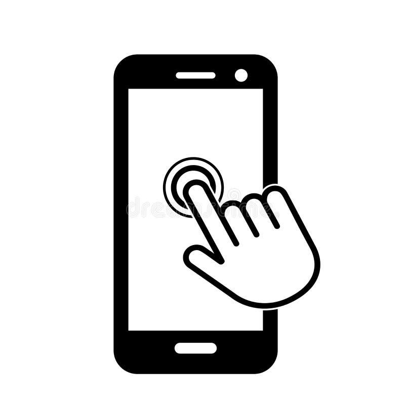 Klik hier de knoop met het handpictogram op het telefoonscherm Lineair pictogram voor Web Vlakke vectorillustratie royalty-vrije illustratie