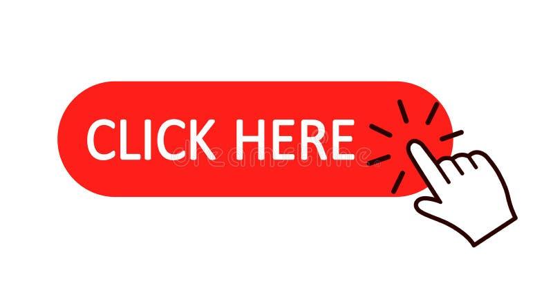 Klik hier knoop met handwijzer het klikken Klik hier Webknoop De geïsoleerde website koopt of registreert barpictogram met handvi royalty-vrije illustratie
