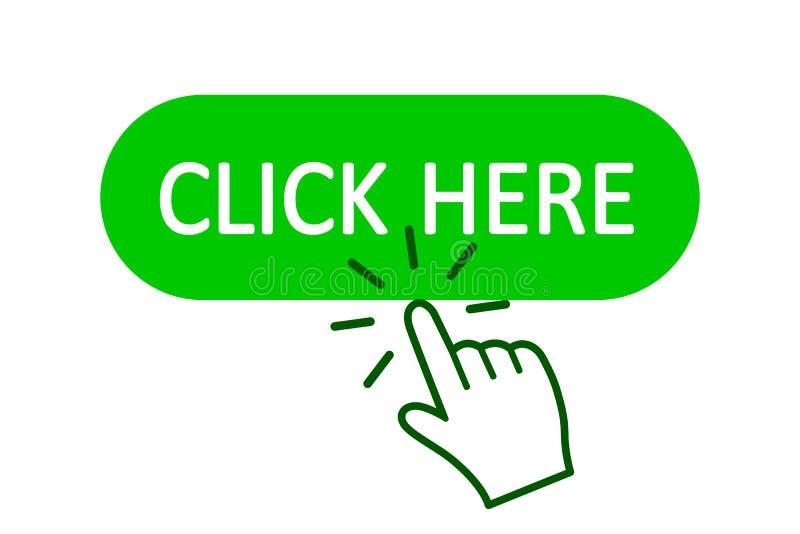 Klik hier knoop met handwijzer het klikken Klik hier Webknoop De geïsoleerde website koopt of registreert barpictogram met handvi stock illustratie