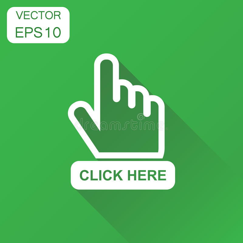 Klik hier pictogram De curseurpictogram van de bedrijfsconceptenhand Vector royalty-vrije illustratie