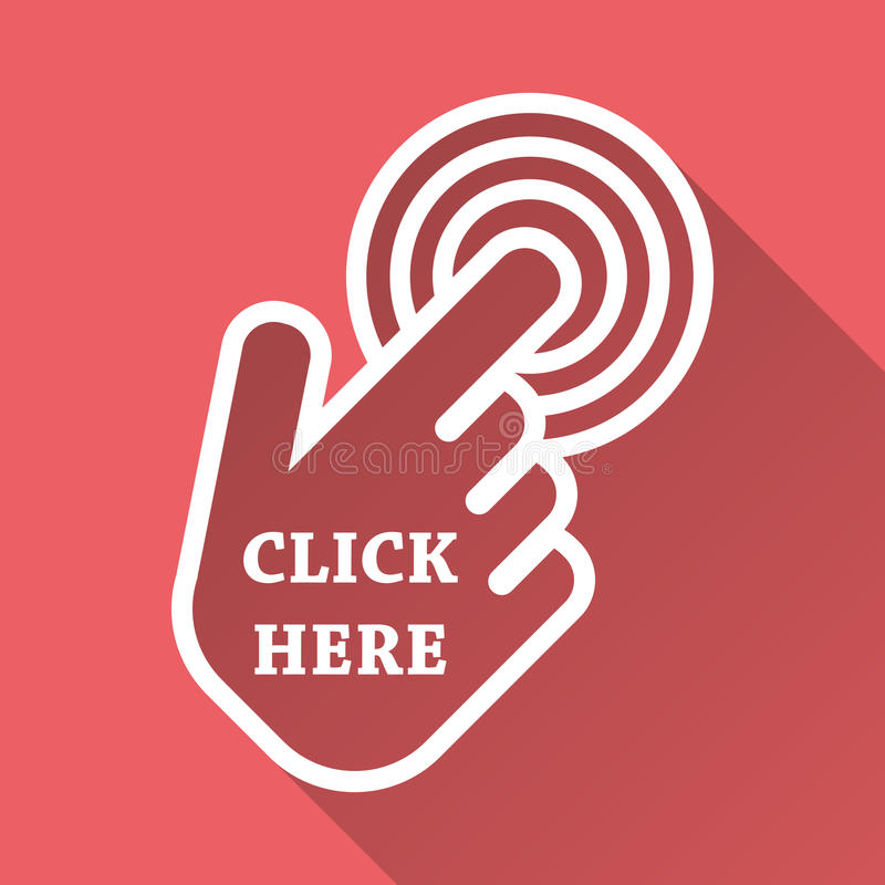Klik hier pictogram De tekens van de handcurseur Roze knopen met lange shado vector illustratie