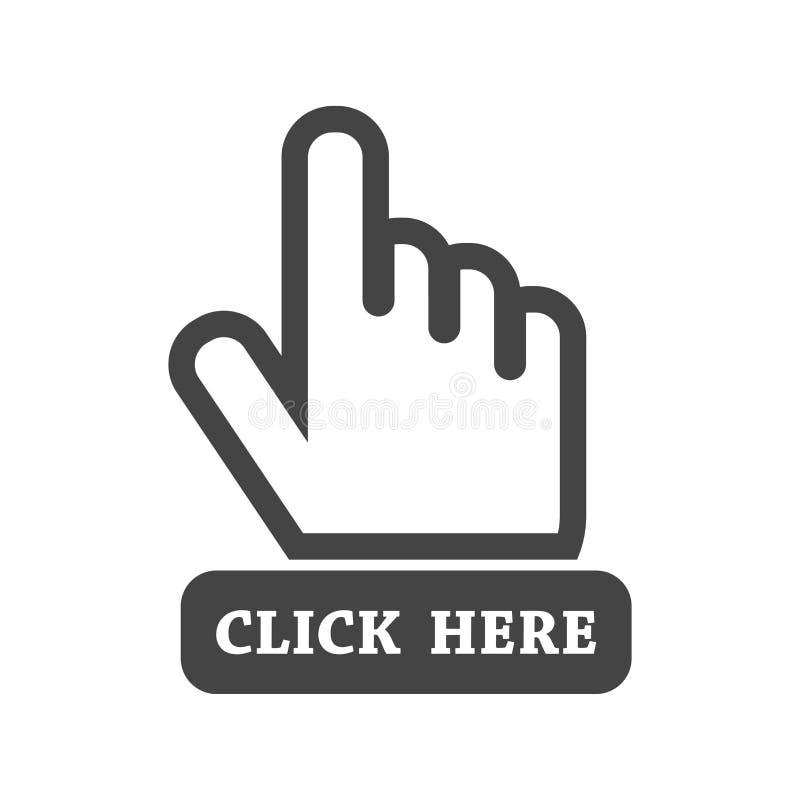 Klik hier pictogram De tekens van de handcurseur Zwarte knoop vlakke vector ziek stock illustratie