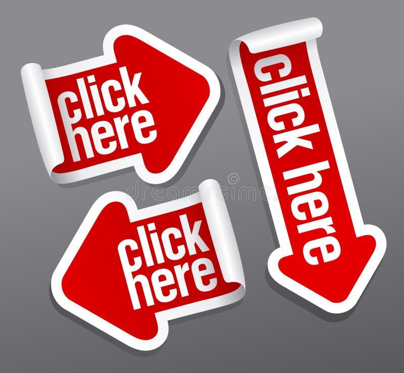 Klik hier stickers vector illustratie
