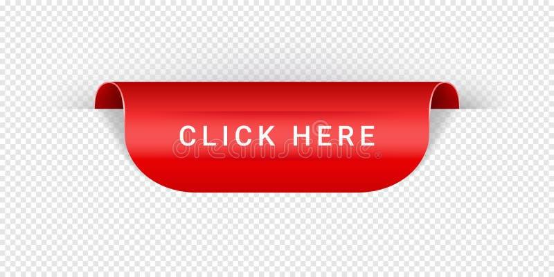 Klik hier Vectorsticker, Markerings, Banner, Etiket, Teken of Lint Realistisch Rood Vector het Document van de Origamistijl Lint  vector illustratie
