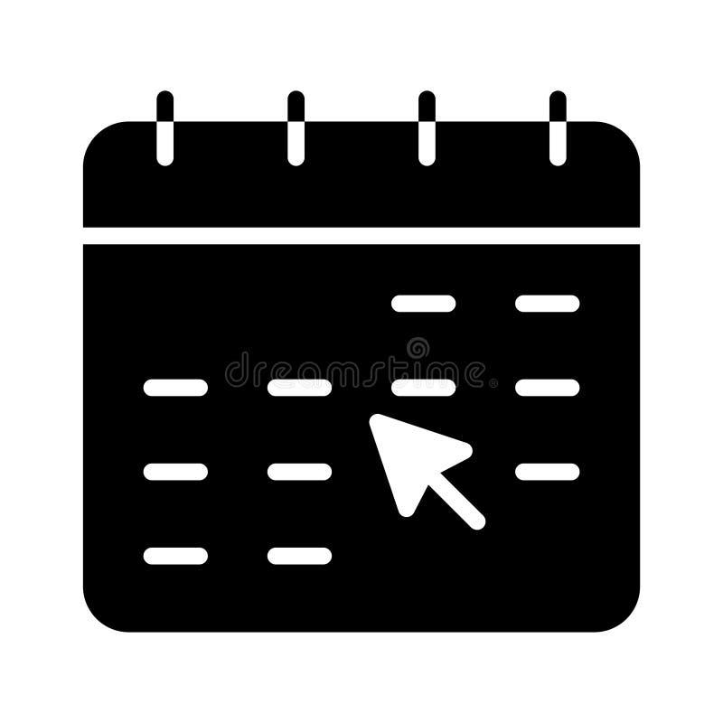 Klik kalender glyph vlak vectorpictogram stock illustratie